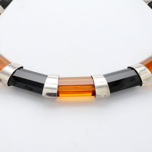Sterling Silver Citrine and Black Onyx Choker Necklace