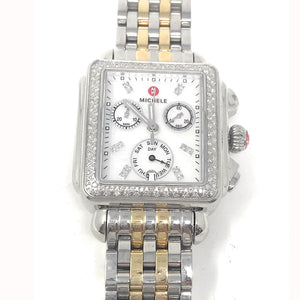 MICHELE Deco Diamond Chronograph Date Stainless Steel Bezel 33mm Watch