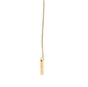 Gucci 18K Yellow Gold Toggle Bar Box Chain Lariat Necklace