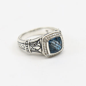 Scott Kay Sterling Silver Ring with Cushion-Cut Blue Topaz and Diamond Halo
