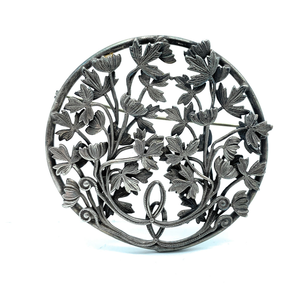 Fabulous Antique Sterling Silver Floral Brooch