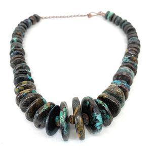 Native American Copper & Turquoise Flat Bead Necklace