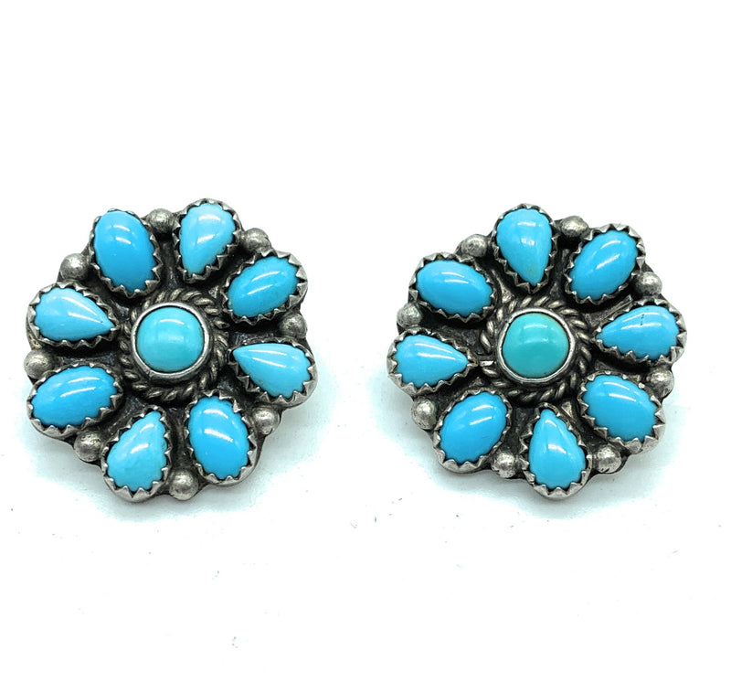 Vintage 1970's Navajo Sterling Silver Sleeping Beauty Turquoise Petit Point Earrings