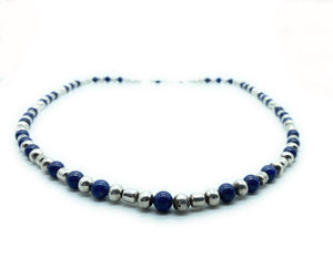 Sterling Silver Navajo Pearls & Lapis Bead Necklace
