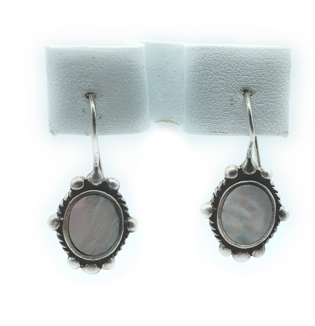 Vintage Old Pawn Sterling Silver & Mother Of Pearl Dangle Earrings