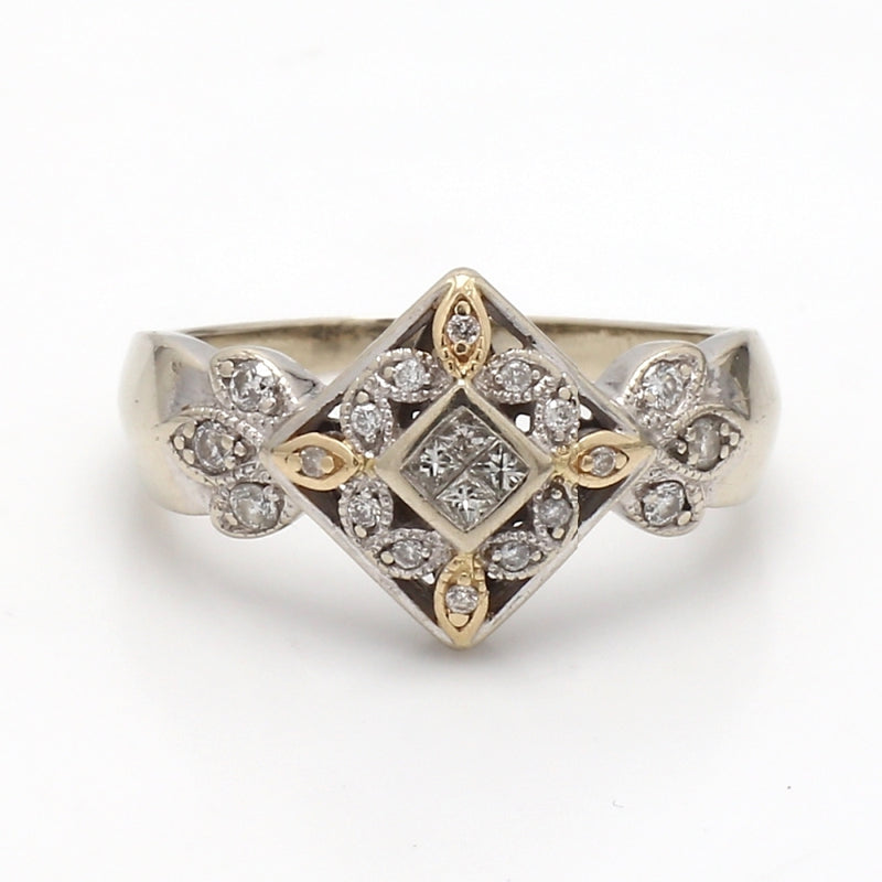 Antique 14K 2-Tone Gold 0.50ctw Multi-Shape Diamond Ring - Sz. 8.5