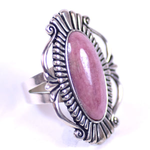 Sterling Silver and Oval Rhodochrosite Cabochon Southwestern Style Jewelry Ring