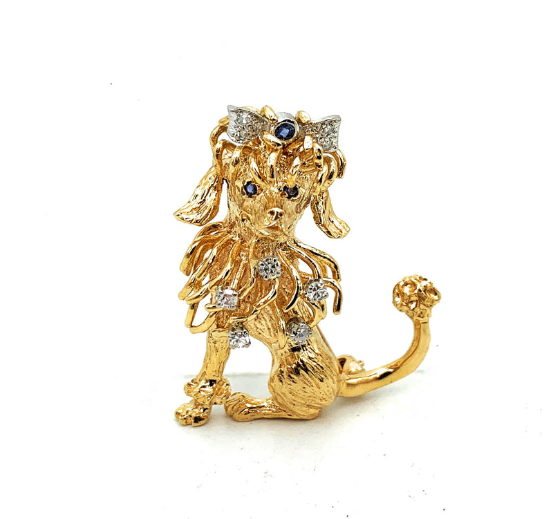 Vintage 14K Two-Tone Gold Diamond & Sapphire Poodle Brooch