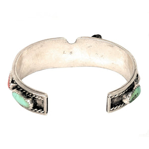 Signed Larry Sandoval Turquoise & Coral Sterling Silver Watch Cuff