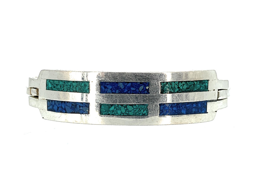 Vintage Sterling Silver, Malachite & Lapis Inlay Hinged Bangle Cuff Bracelet