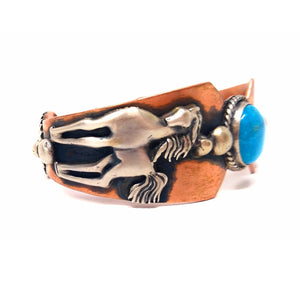 "Chaco Canyon Southwest Turquoise Sterling Silver and Copper ""Horse"" Cuff Bracelet"