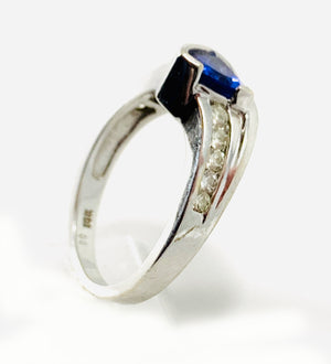 14K White Gold Star K Genuine Tanzanite Triangle & Diamond Contemporary Modern Designer Ring