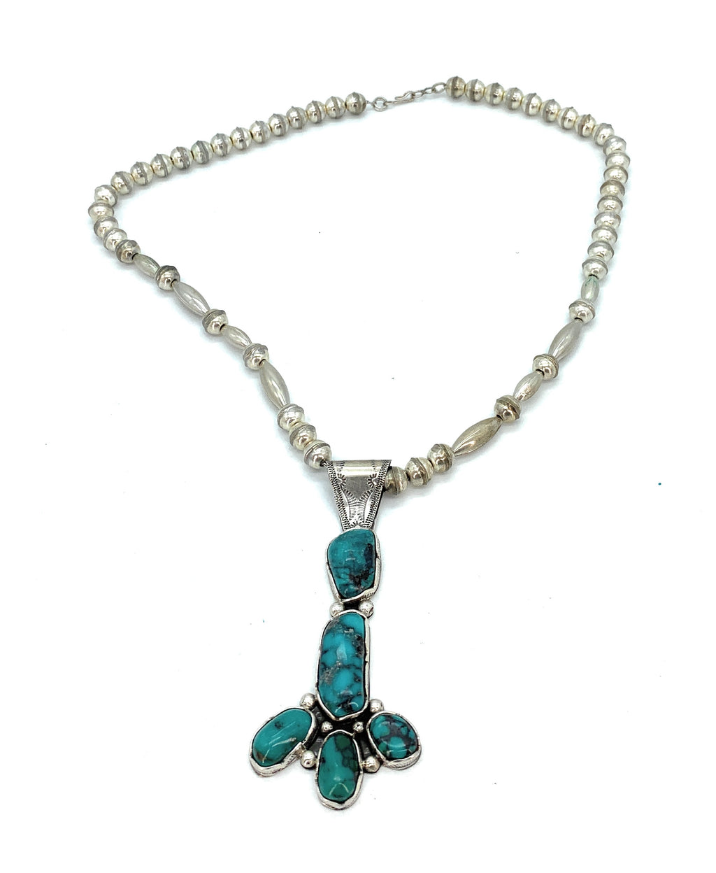 Vintage Old Pawn Sterling Silver & Turquoise Bead & Pendant Necklace