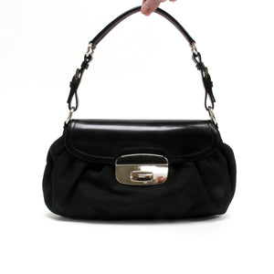 Prada Black Nylon Leather Silver Hardware Flap Shoulder Bag