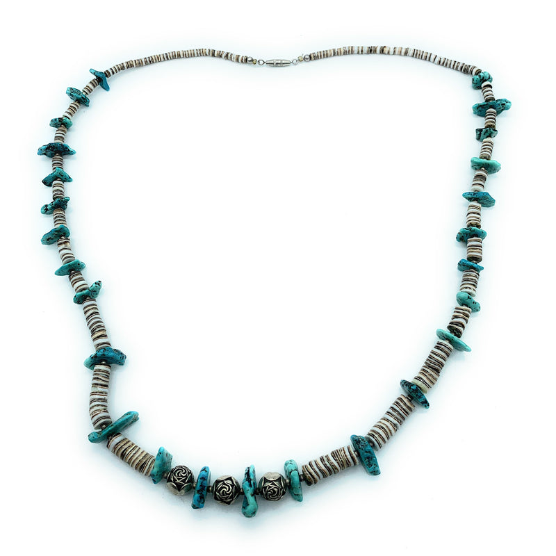 Vintage Navajo 1970's Turquoise Nugget & Shell Heishi Bead Necklace