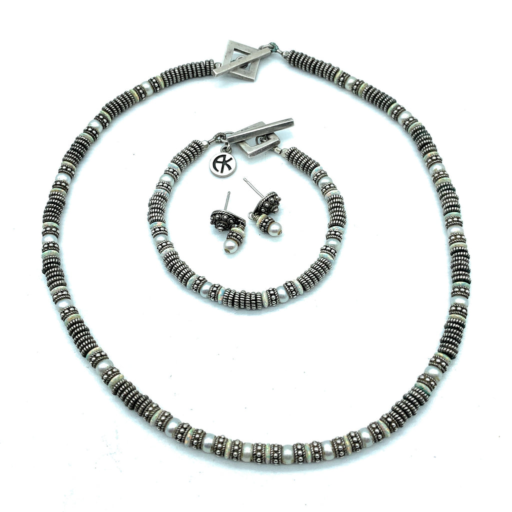 Arlene Kasselman Sterling Silver Multi-Stone Beaded Jewelry Set