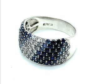 EFFY Sterling Silver Blue & White Sapphire Splash Ring - Sz 9.5