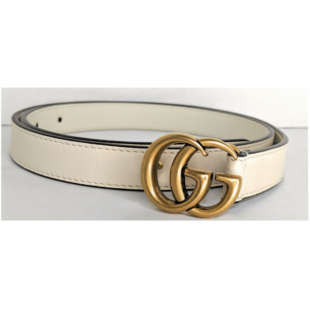 Gucci Mystic White Leather Belt with Double G Buckle