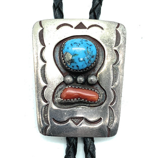 Vintage 1960's Navajo Sterling Silver, Turquoise, & Coral Bolo Tie - Signed