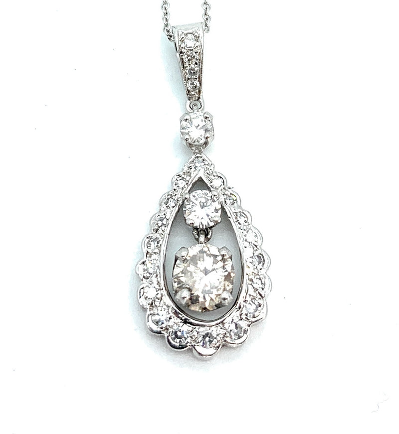 14K White Gold 1.10ctw Diamond Teardrop Pendant Necklace