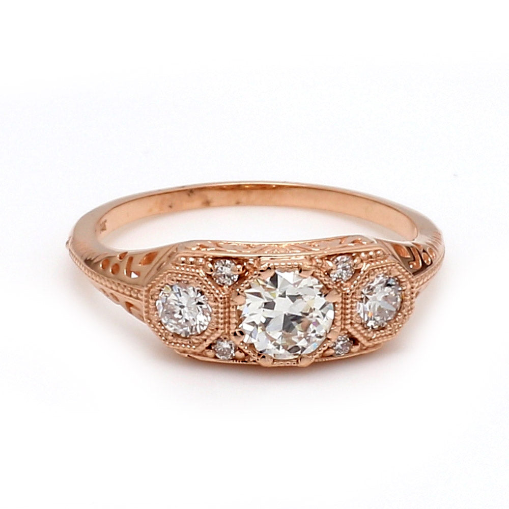Vintage 14K Rose Gold & Diamond Ring - Sz. 6.5