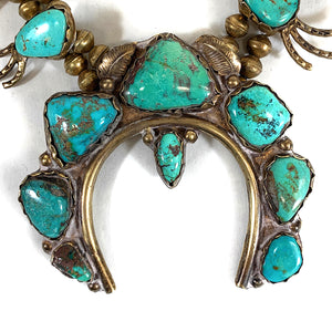 Vintage Navajo Sterling Silver Royston Turquoise Squash Blossom Necklace