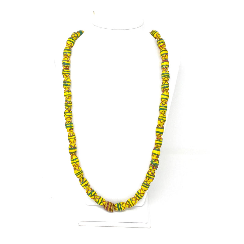 Vintage Venetian Wound Fancy Yellow Mixed Glass African Trade Beads Necklace