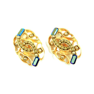 Costume Gold Tone Clip On Earrings with Beads and Blue Stone