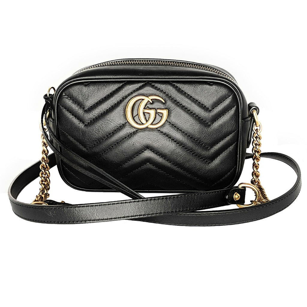 Gucci Black Calfskin Matelasse GG Marmont Mini Bag