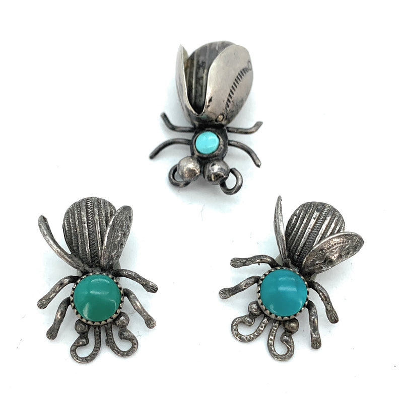 Vintage Old Pawn Sterling Silver & Turquoise Insect Earring & Brooch Set