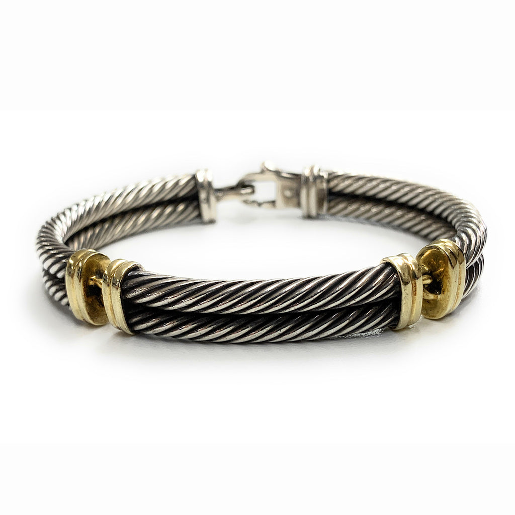 David Yurman Sterling Silver & 14K Gold 10mm Metro Double Cable Bracelet