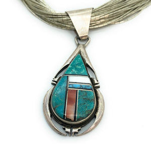 Old Pawn Sterling Silver 50 Strand Liquid Silver Multi Stone Inlay Pendant Choker - Signed