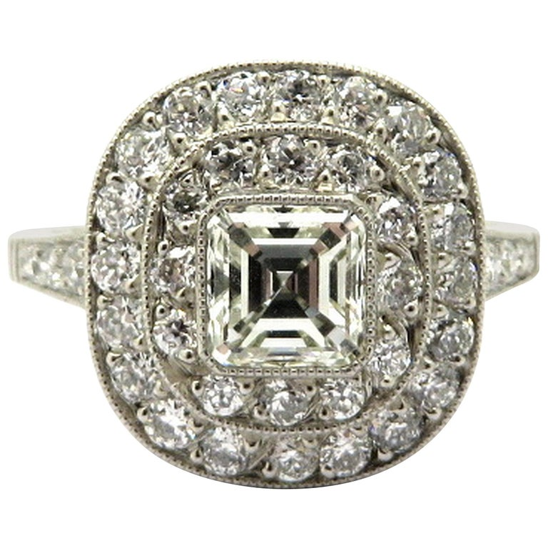 Platinum Art Deco Style Asscher and Old European Cut Diamond Engagement Ring, Size 7