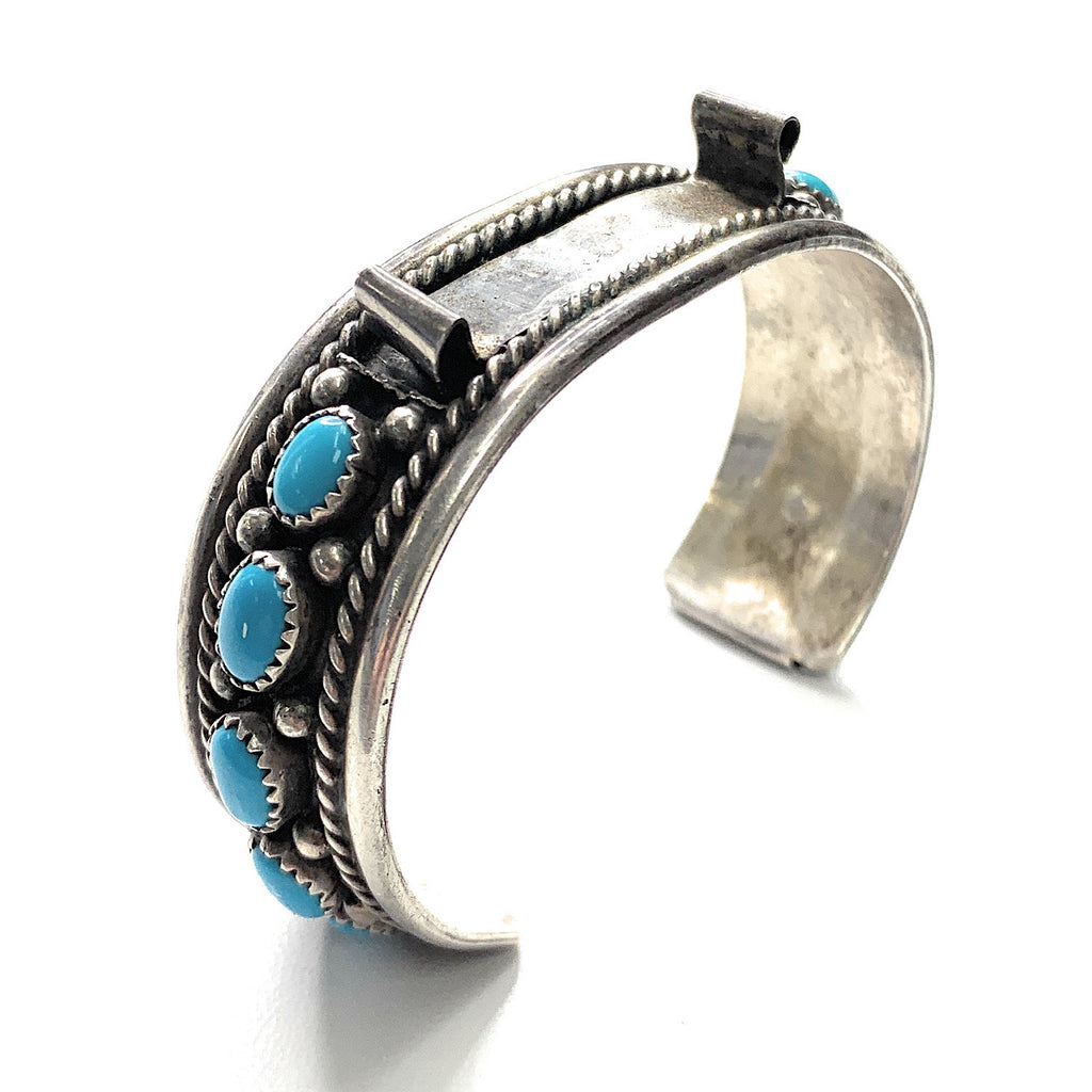 Vintage Navajo Sterling Silver & Sleeping Beauty Turquoise Watch Cuff Bracelet