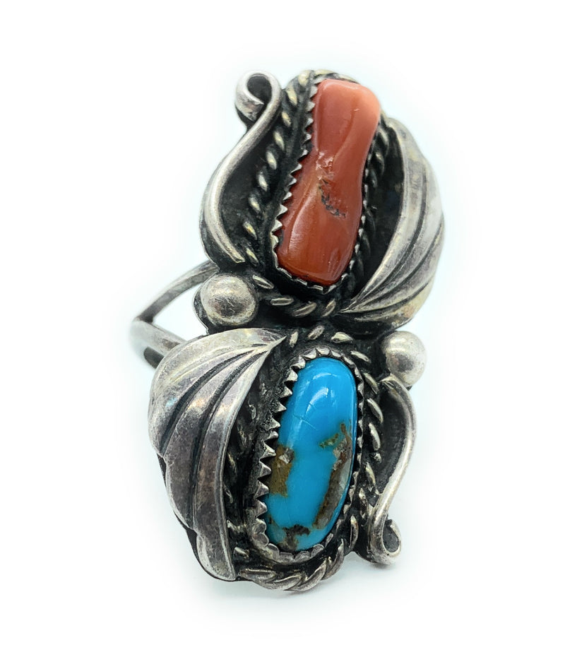 Vintage 1950's Navajo Split Shank Sterling Silver Turquoise & Coral Ring