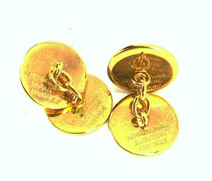 HERMES Selle Bijouterie Fantaisie 18K Gold Plated Cufflinks