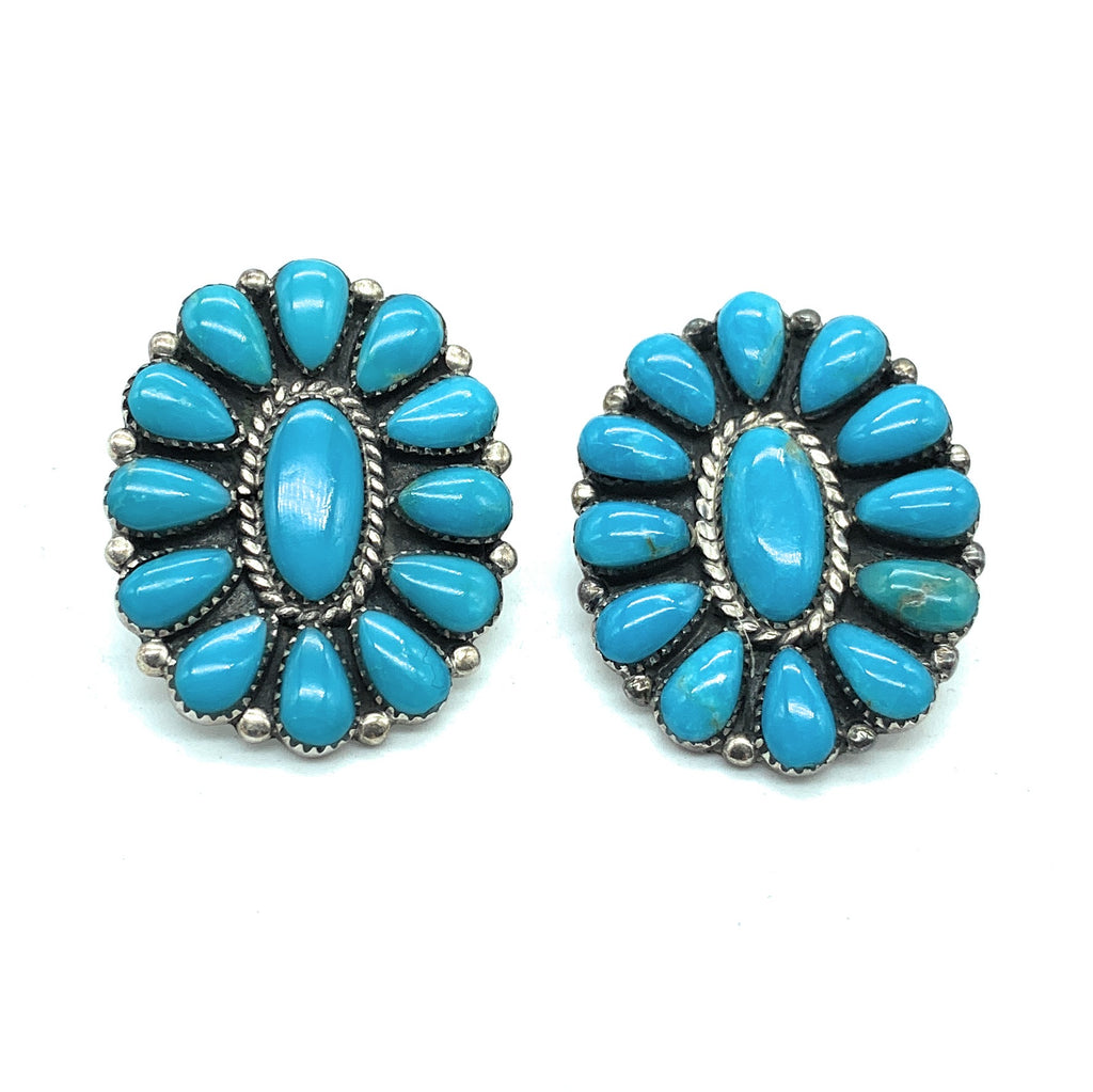 Vintage 1970's Navajo Sterling Silver Turquoise Petit Point Earrings