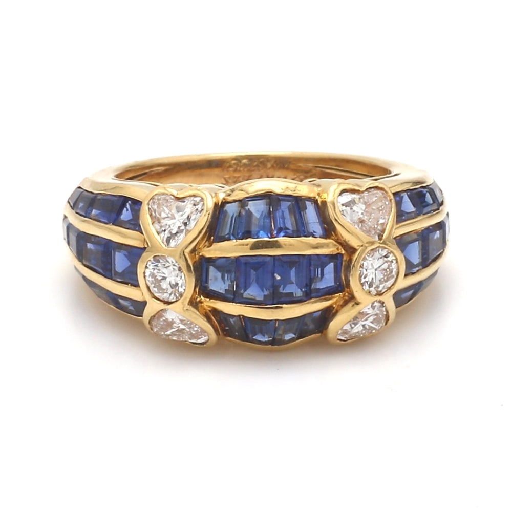 Van Cleef & Arpels 18K Yellow Gold, Sapphire, & Diamond Ring - Sz. 5.25