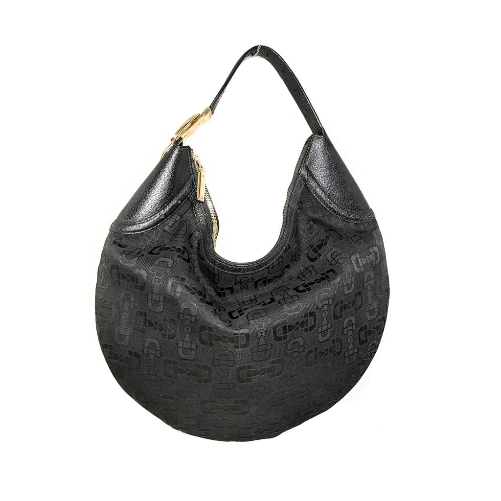Gucci Black Horsebit Canvas Hobo Bag