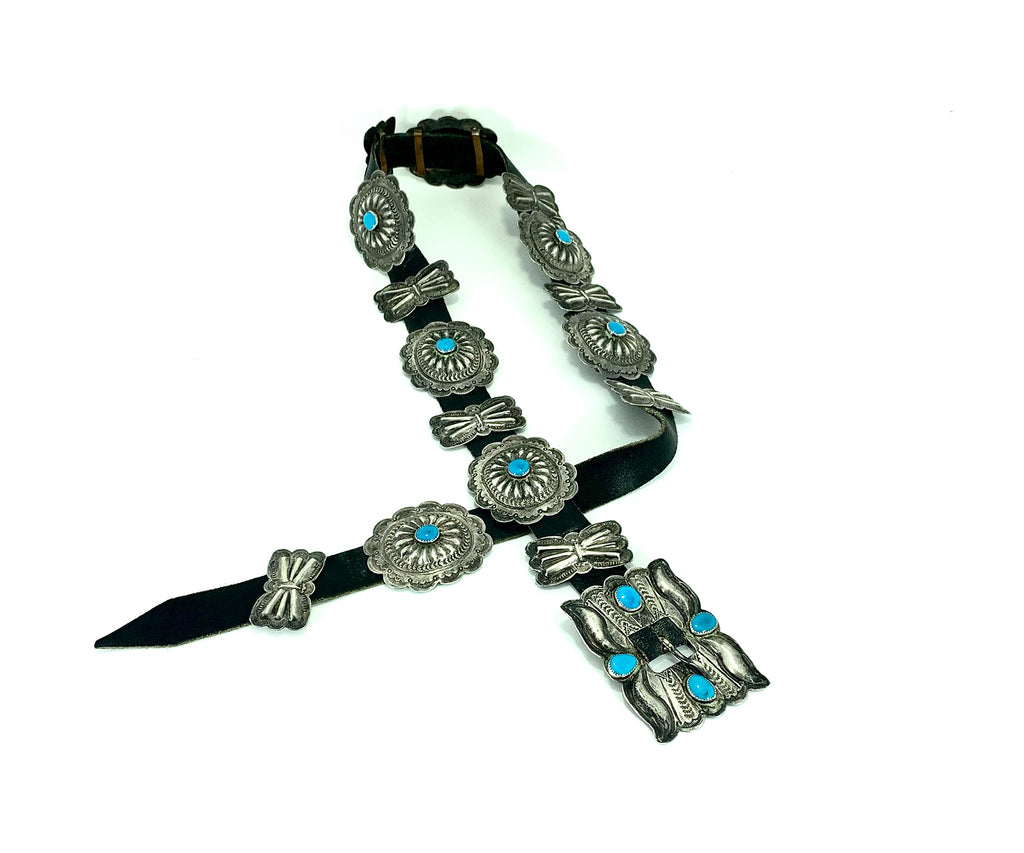VERY RARE Collectible Benson Yazzie Navajo Sterling Concho Belt with Turquoise Cabochons