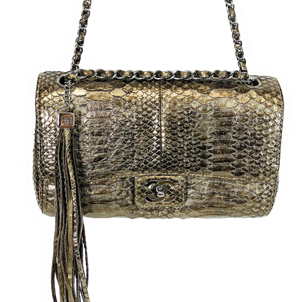 Chanel Metallic Python Medium Soho Tassel Flap Bag