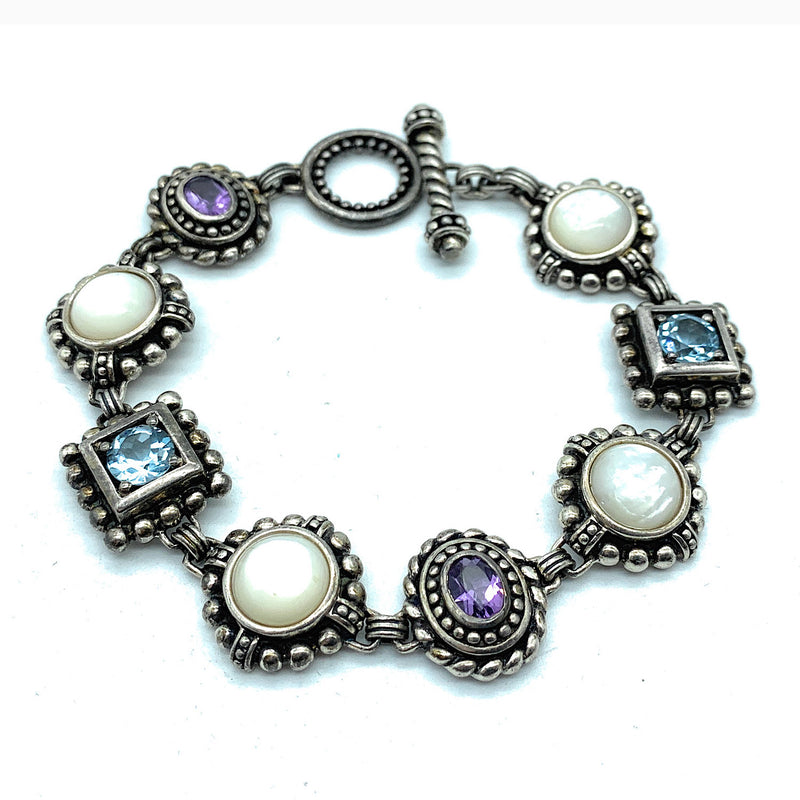 Gorgeous Sterling Silver Multi-Stone Link Bracelet