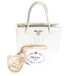 Prada Convertible Open Tote White Diagramme Quilted Leather Medium