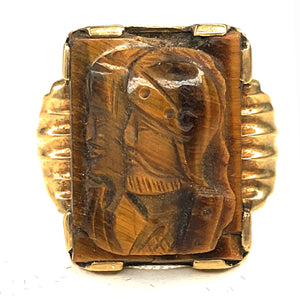 10 Karat Yellow Gold and Carved Tigers Eye Knight Ring, Size 9.5