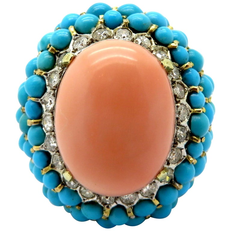 14 Karat Gold Angel Skin Coral, Diamond and Turquoise Large Fashion Ring, Size 7.5