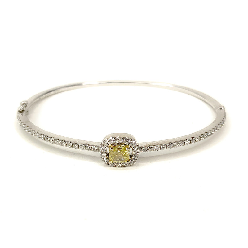 18K Two-Tone Gold Yellow & White Diamond Halo Hinged Bangle Bracelet - sz. 6.5
