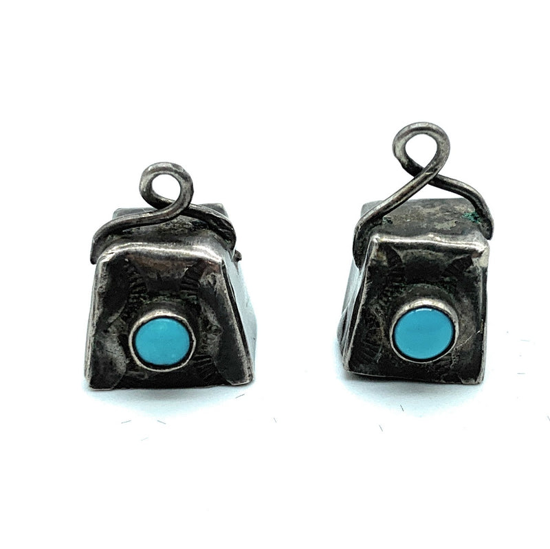 Vintage 1950's Navajo Sterling Silver & Turquoise Cowbell Earrings