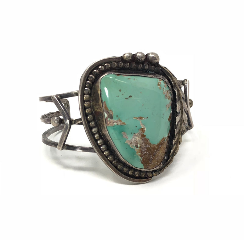 Old Pawn Style Sterling Silver Turquoise Cuff Bracelet