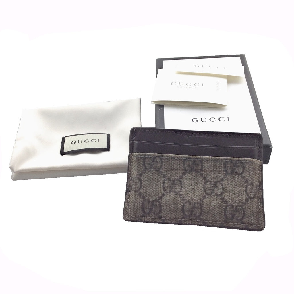 Gucci GG Supreme Canvas Brown Leather Trim Mini Card Case Wallet 233166