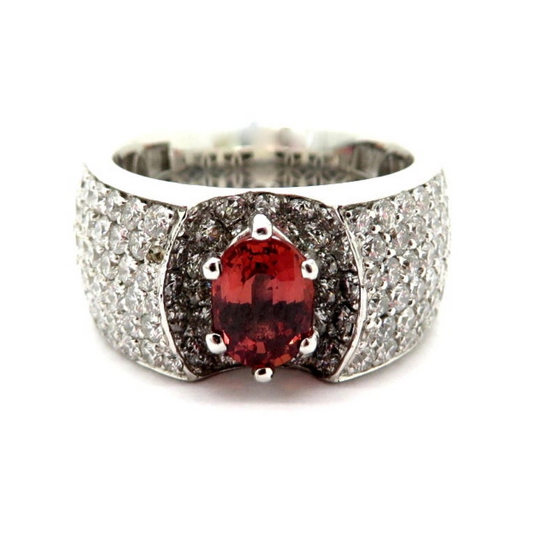 18 karat White Gold Pave Diamond and Padparadscha Oval Sapphire Ring, Size 5.5